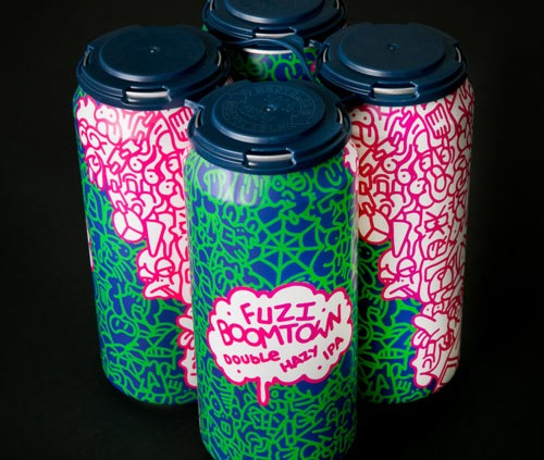 4-pack of colorful cans, Fuzi Double Hazy IPA